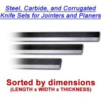 Steel, Carbide, and corrugated knives sorted by dimensions