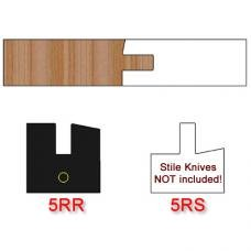Right Hand (RH) Rail Insert Knife (Centered) for Shaker Style Cabinet Doors Profile #5 with 12 Degree Angle (Single Knife)