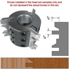 Titan Heavy Duty Insert Head complete with Carbide Knives and Steel Backers; Profile: Chamfer #1