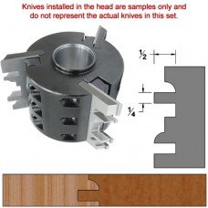 Titan Heavy Duty Insert Head complete with Carbide Knives and Steel Backers; Profile: Crown #1