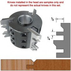 Titan Heavy Duty Insert Head complete with Carbide Knives and Steel Backers; Profile: V-Joint