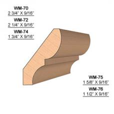 SET of 2 Molding Knives for Crown WM-72 (Profile Width: 2-1/4'') for Williams&Hussey and similar machines