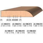 SINGLE Molding Knife for Door Stop WM-818 (Profile Width: 1-1/8'') for Woodmaster and similar machines