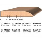 SINGLE Molding Knife for Door Stop WM-857 (Profile Width: 1-1/4'') for Woodmaster and similar machines