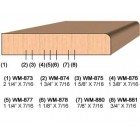 SET of 2 Molding Knives for Door Stop WM-875 (Profile Width: 1-5/8'') for Williams&Hussey and similar machines