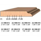 SET of 2 Molding Knives for Door Stop WM-915 (Profile Width: 1-5/8'') for Williams&Hussey and similar machines