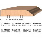 SINGLE Molding Knife for Door Stop WM-936 (Profile Width: 1-3/8'') for Woodmaster and similar machines