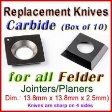 Set of 10 Carbide Blades for Felder 1/2'' Planer, ALL