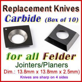 Set of 10 Carbide Blades for Felder 1/2'' Planer, ALL