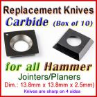 Set of 10 Carbide Blades for Hammer 1/2'' Planer, ALL