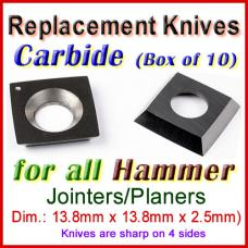 Set of 10 Carbide Blades for Hammer 1/2'' Jointer, ALL
