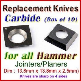 Set of 10 Carbide Blades for Hammer 1/2'' Planer, ALL
