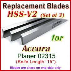 Set of 3 HSS Blades for Accura 15'' Planer, 02315