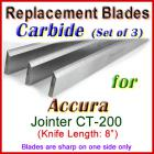 Set of 3 Carbide Blades for Accura 8'' Jointer, CT-200