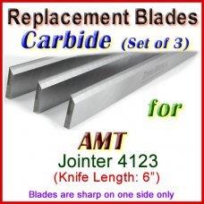 Set of 3 Carbide Blades for AMT 6'' Jointer, 4123