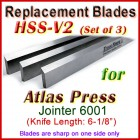 Set of 3 HSS Blades for Atlas Press 6'' Jointer, 6001