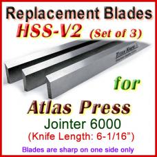 Set of 3 HSS Blades for Atlas Press 6'' Jointer, 6000