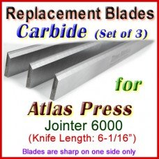 Set of 3 Carbide Blades for Atlas Press 6'' Jointer, 6000