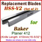 Set of 2 HSS Blades for Baker 16'' Planer, 412