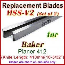 Set of 2 HSS Blades for Baker 16'' Planer, 412