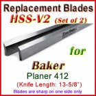 Set of 2 HSS Blades for Baker 13-1/2'' Planer, 412
