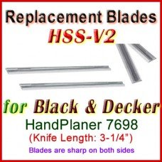 Set of 2 HSS Blades for Black and Decker 3'' Handheld Planer, 7698