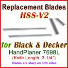Set of 2 HSS Blades for Black and Decker 3'' Handheld Planer, 7698L