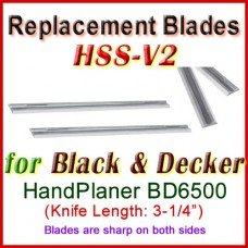 Set of 2 HSS Blades for Black and Decker 3'' Handheld Planer, BD6500