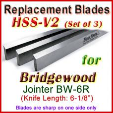 Set of 3 HSS Blades for Bridgewood 6'' Jointer, BW-6R