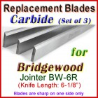 Set of 3 Carbide Blades for Bridgewood 6'' Jointer, BW-6R