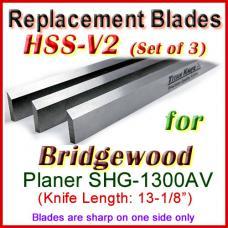 Set of 3 HSS Blades for Bridgewood 13'' Planer, SHG-1300AV
