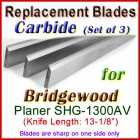 Set of 3 Carbide Blades for Bridgewood 13'' Planer, SHG-1300AV