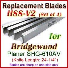 Set of 4 HSS Blades for Bridgewood 24'' Planer, SHG-610AV