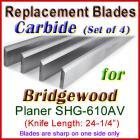 Set of 4 Carbide Blades for Bridgewood 24'' Planer, SHG-610AV