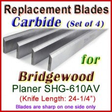 Set of 4 Carbide Blades for Bridgewood 24'' Planer, SHG-610AV
