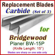 Set of 3 Carbide Blades for Bridgewood 15'' Planer, BW-15P