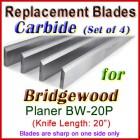 Set of 4 Carbide Blades for Bridgewood 20'' Planer, BW-20P