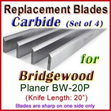 Set of 4 Carbide Blades for Bridgewood 20'' Planer, BW-20P