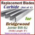 Set of 4 Carbide Blades for Bridgewood 8'' Jointer, BW-8J