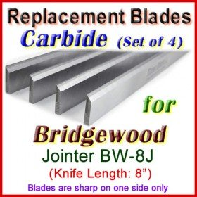 Set of 4 Carbide Blades for Bridgewood 8'' Jointer, BW-8J