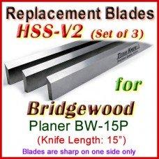 Set of 3 HSS Blades for Bridgewood 15'' Planer, BW-15P