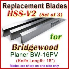 Set of 3 HSS Blades for Bridgewood 16'' Planer, BW-16PV