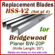 Set of 4 HSS Blades for Bridgewood 20'' Planer, BW-20P