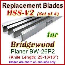 Set of 4 HSS Blades for Bridgewood 26'' Planer, BW-26P2