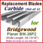 Set of 4 Carbide Blades for Bridgewood 26'' Planer, BW-26P2