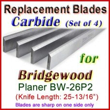Set of 4 Carbide Blades for Bridgewood 26'' Planer, BW-26P2