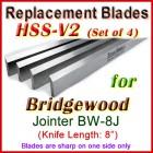 Set of 4 HSS Blades for Bridgewood 8'' Jointer, BW-8J