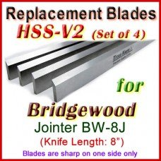 Set of 4 HSS Blades for Bridgewood 8'' Jointer, BW-8J