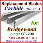 Set of 3 Carbide Blades for Bridgewood 8'' Jointer, CT-200