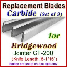 Set of 3 Carbide Blades for Bridgewood 8'' Jointer, CT-200